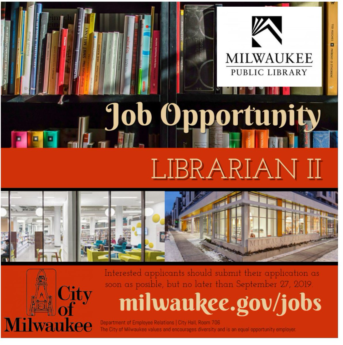 The #MilwaukeePublicLibrary is #hiring! Help people to read, learn and connect as a Librarian II @MilwaukeePubLib! Learn more: http://ow.ly/Cu0b50w4zdu   #milwaukee  #mke #librarian #library #wisconsin #publiclibrary #jobs #jobsearch #careers #milwaukeejobspic.twitter.com/bnpFm2Ozbq