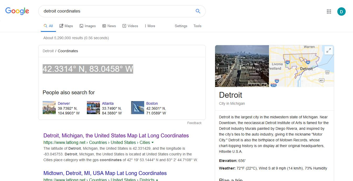 remain solid natured on twitter yo googledevs detroit s coordinates are off by a negative sign on the longitude twitter