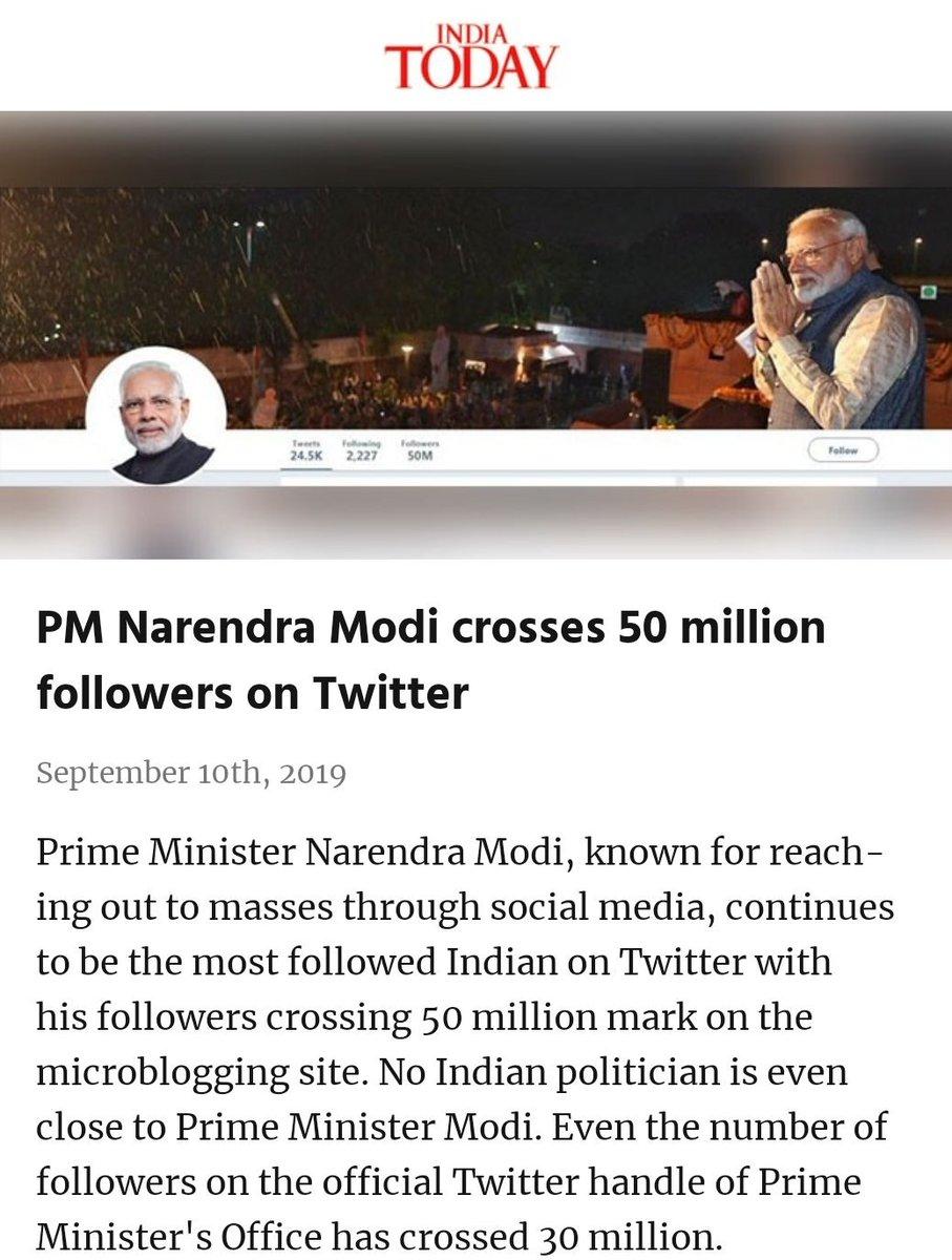 #NarendraModi #BJP4India #VijayiBharat #AmitShah #BLSanthosh #JPNadda   PM Narendra Modi crosses 50 million followers on Twitter  https://www. indiatoday.in/india/story/pm -narendra-modi-twitter-50-million-1597201-2019-09-09  …  via NaMo App<br>http://pic.twitter.com/OWYO8terQI