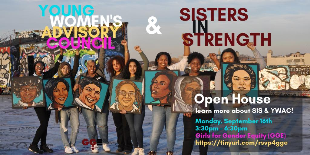 Calling all girls & TGNC youth of color! Come thru to our Open House next week! Learn more about our youth activist programs Sisters In Strength (SIS) & the Young Women's Advisory Council (YWAC)! RSVP here: tinyurl.com/rsvp4gge