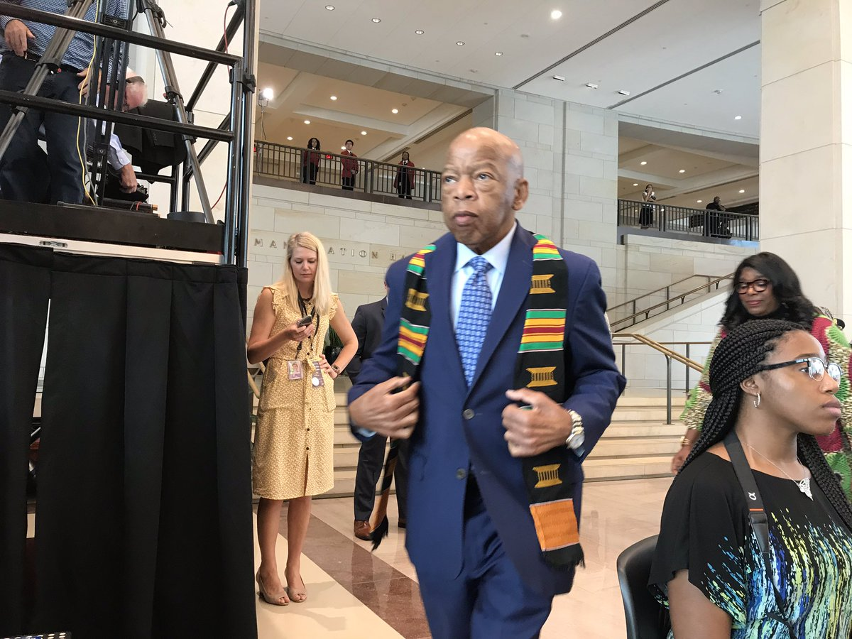. @repjohnlewis and @RepTerriSewell joining other Congressional Black Caucus members for a 1619 commemoration in Emancipation Hall. @TheBlackCaucus, @USATODAY