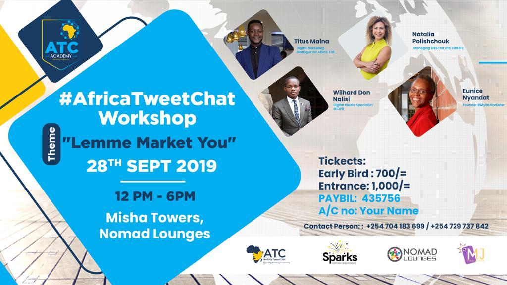Look at that Panel...🙌🙌🙌🙌 #AfricaTweetChat Workshop 2019 You do not want to miss this 🙏 28.9.19