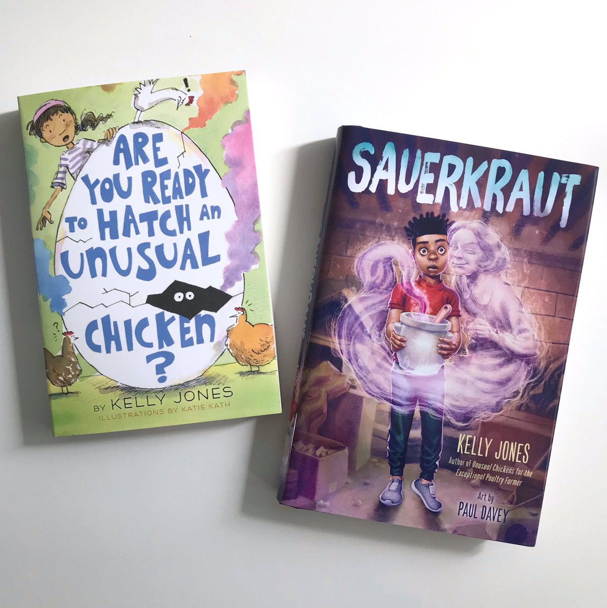 My new #mglit novel Sauerkraut & the paperback of Are You Ready to Hatch an Unusual Chicken? are in bookstores today! Thank you to amazing illustrators @mattahan & @kathk_me, & to @KnopfBFYR! #ghostlysauerkraut #unusualchickens @randomhousekids @RHCBEducators