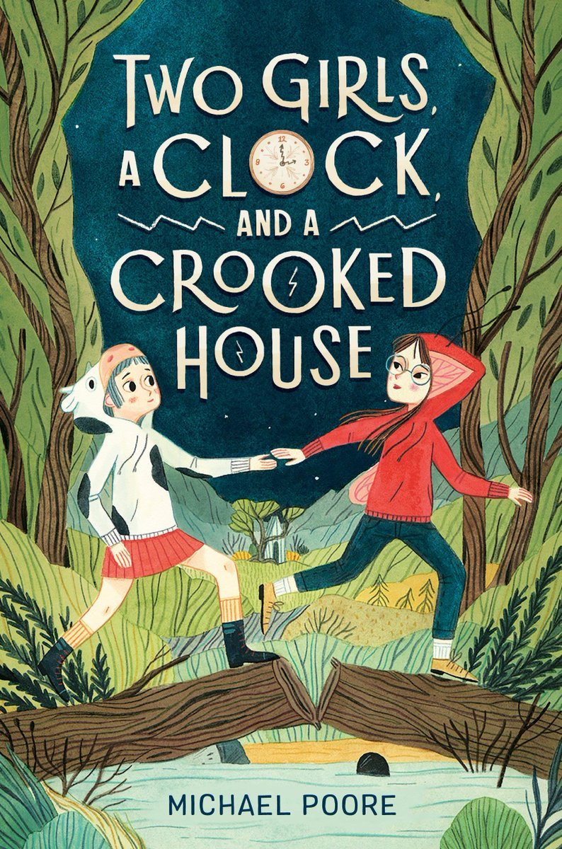 Happy #BookBirthday to TWO GIRLS, A CLOCK, AND A CROOKED HOUSE by @mikepoore227 and illustrated by #BrightArtist @LeireSalaberria 🥳🥳 A though-provoking middle grade journey through time, space, and the depths of the human heart. #BrightReads 🕰️📚 @randomhousekids