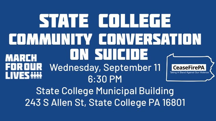 Join us tomorrow night in State College for a Community Conversation on Suicide