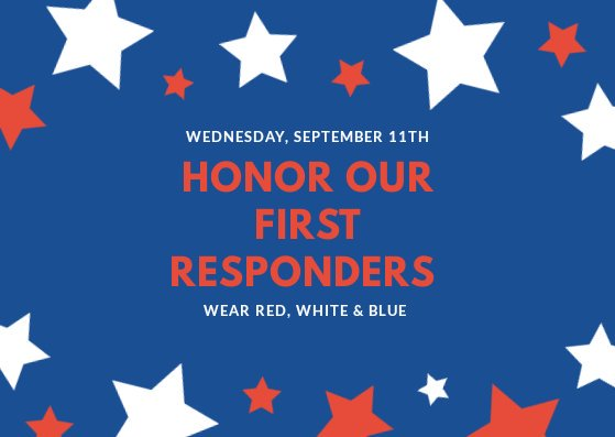 Deerwood will recognize local first responders at a special breakfast TOMORROW, September 11th. All staff and students are encouraged to wear red, white & blue as we honor these helpers #dwe2020 #dwepta<br>http://pic.twitter.com/dj3fEtNki5