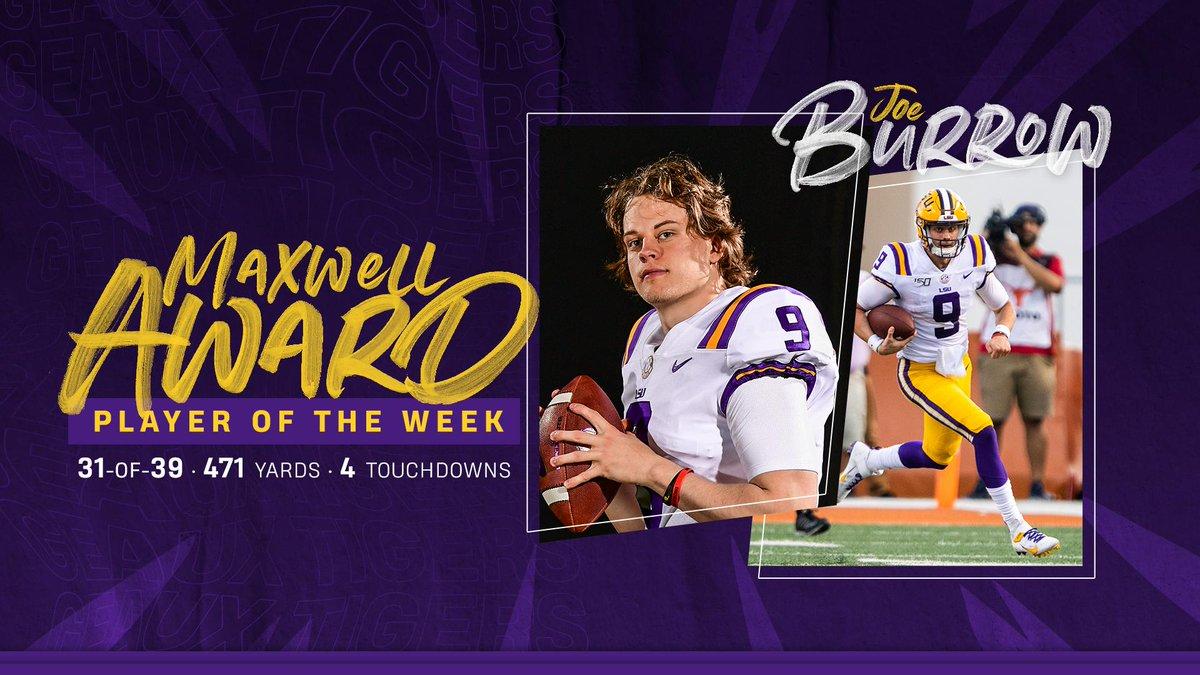 Quarterback @Joe_Burrow10 is the Maxwell Award Player of the Week! #GeauxTigers