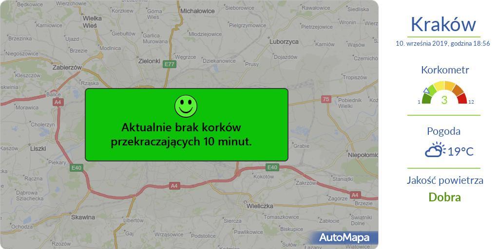 Krakow Aktualna Mapa Korkow Przekraczajacych 10 Minut