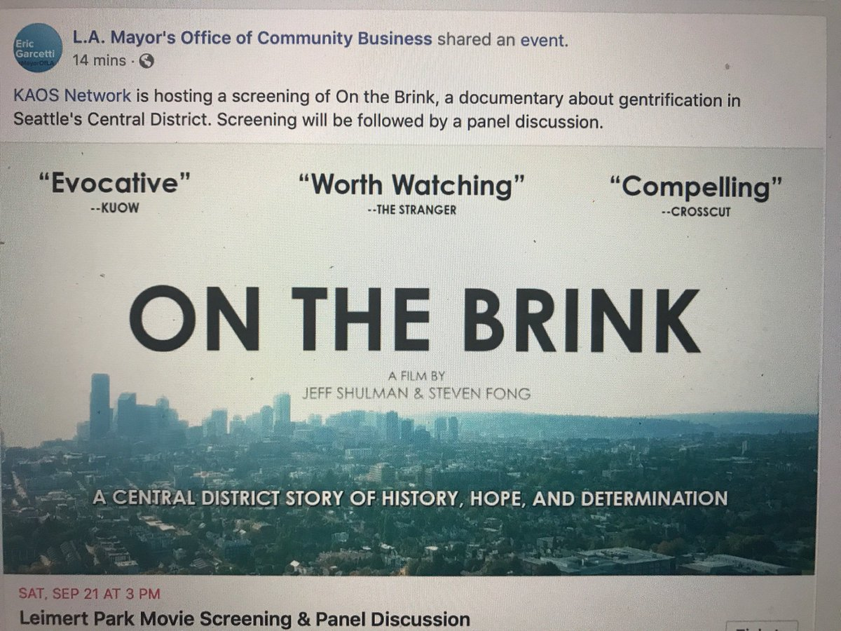It's great to see the Los Angeles Mayor's office get behind our next screening of On the Brink!!
