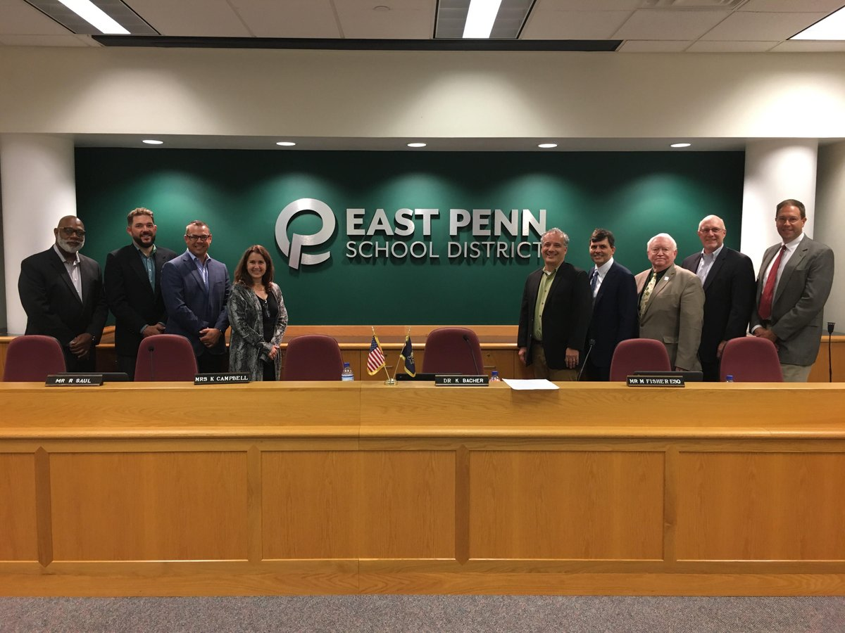 LOOKING GOOD! Our EPSD School Board shows off the most recent district rebranding project. We are #EastPennPROUD!
