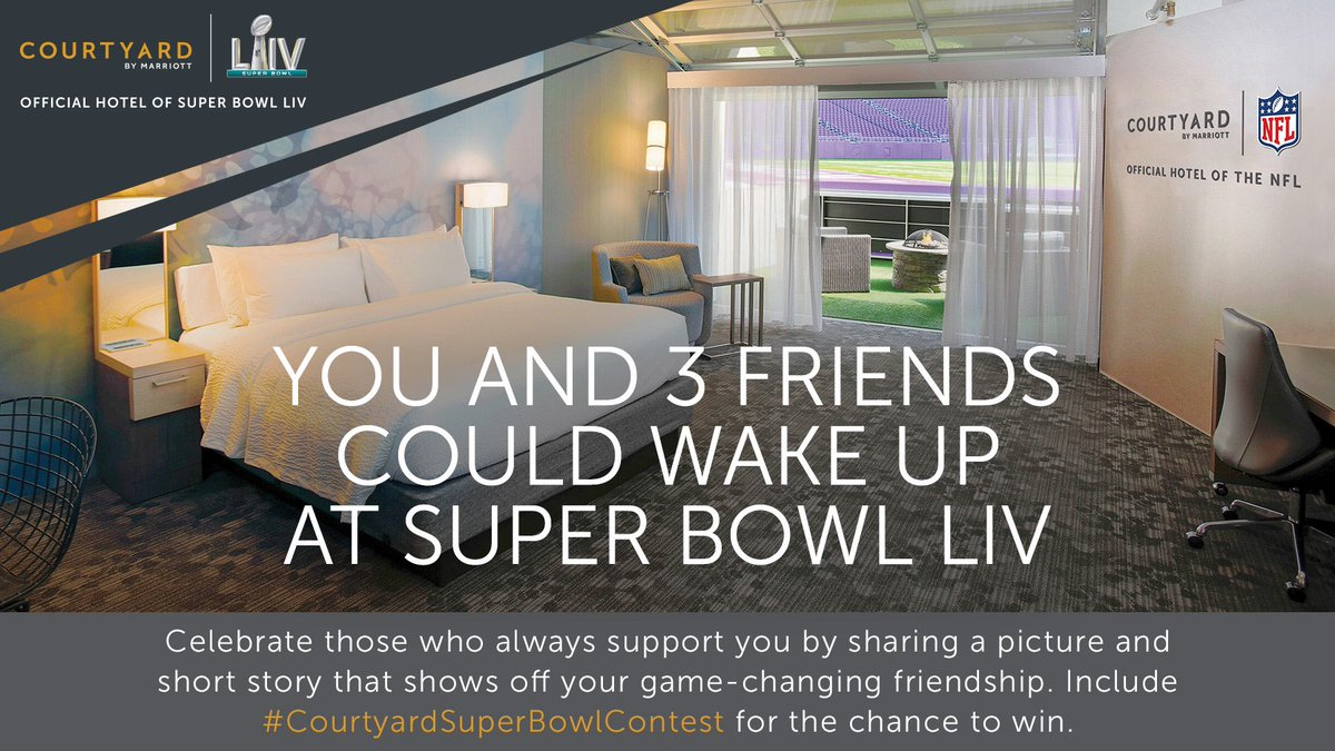 .@CourtyardHotels is celebrating game-changing friendships by awarding 1 winner + 3 friends a #SBLIV Sleepover inside the stadium. My entry would be a story about my pal @emmittsmith22, a leader, game-changer, & legend #CourtyardSuperBowlContest Rules: https://t.co/fTGfo9MZJa #ad https://t.co/L1M4abcpeC