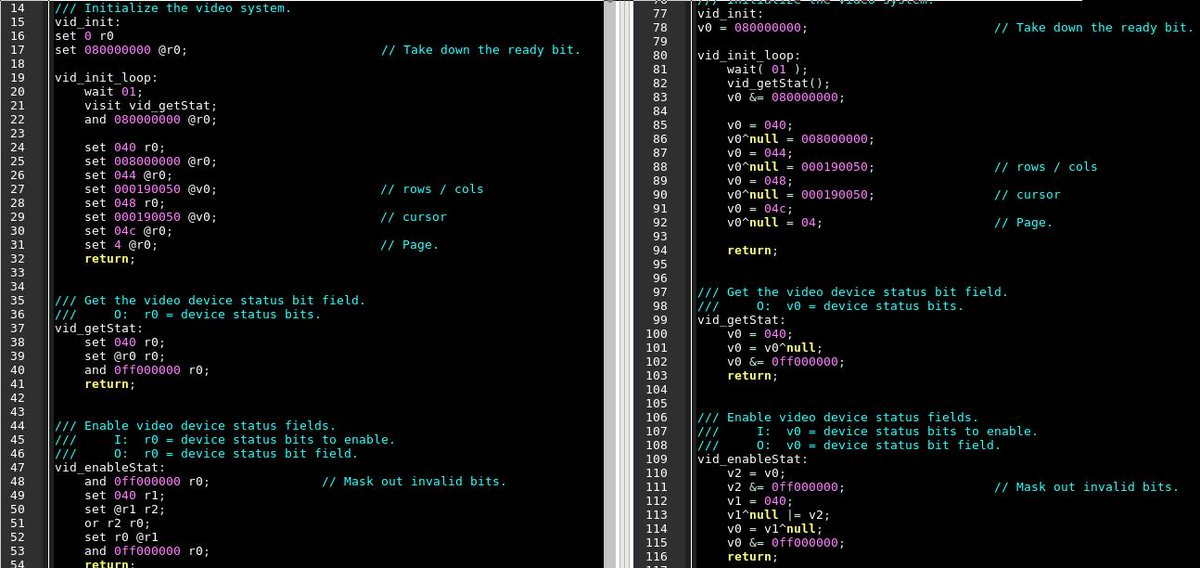 """CodeLobe on Twitter: """"Updating my High Level assembly language. I built a  transpiler from the old version (right) to new on left. C-isms were voted  """"Most Likely to be Confused at Prom[t]"""" #"""