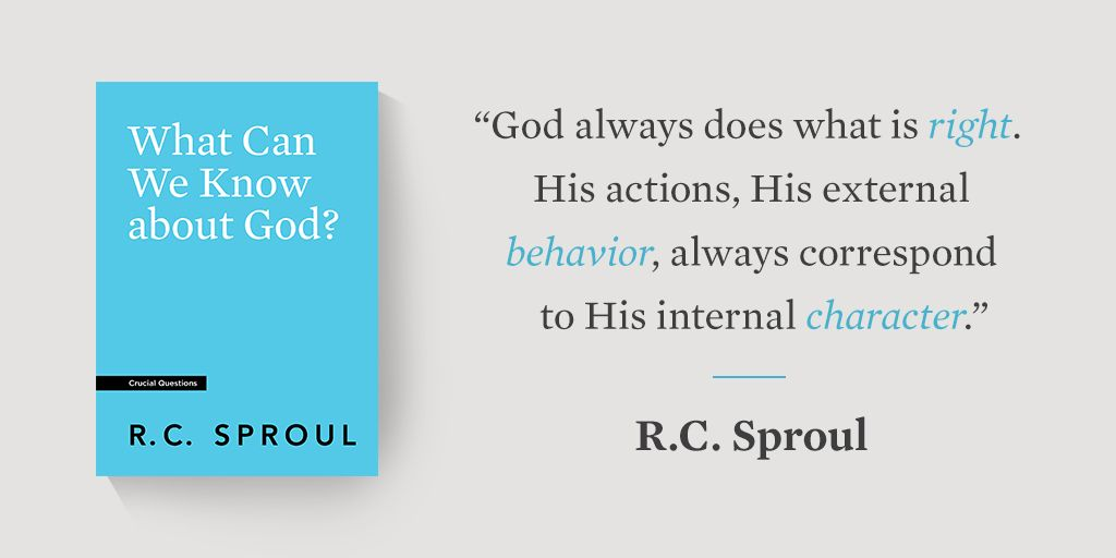 """God always does what is right. His actions, His external behavior, always correspond to His internal character."" —@RCSproul  @RCSproul's Crucial Questions booklets provide a quick introduction to core Christian truths. Shop now and stock up for your church resource table"