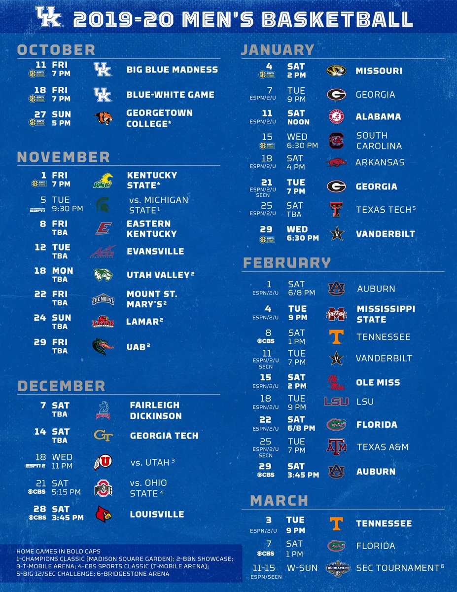 image relating to Uk Basketball Printable Schedule identified as Kentucky Basketball upon Twitter: \