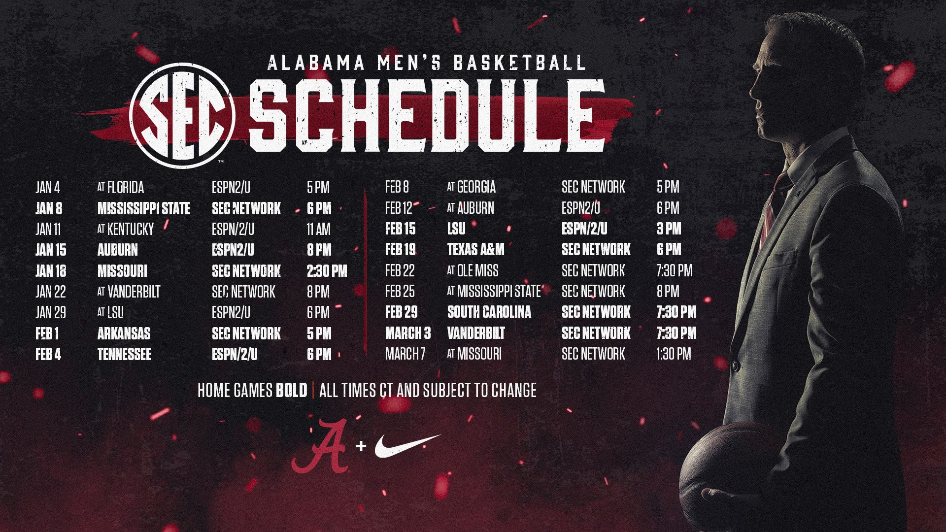 Alabama Crimson Tide NCAA Basketball: The 2020 @SEC men's basketball schedule has been released‼️  🔗https://t.co/UonFz...