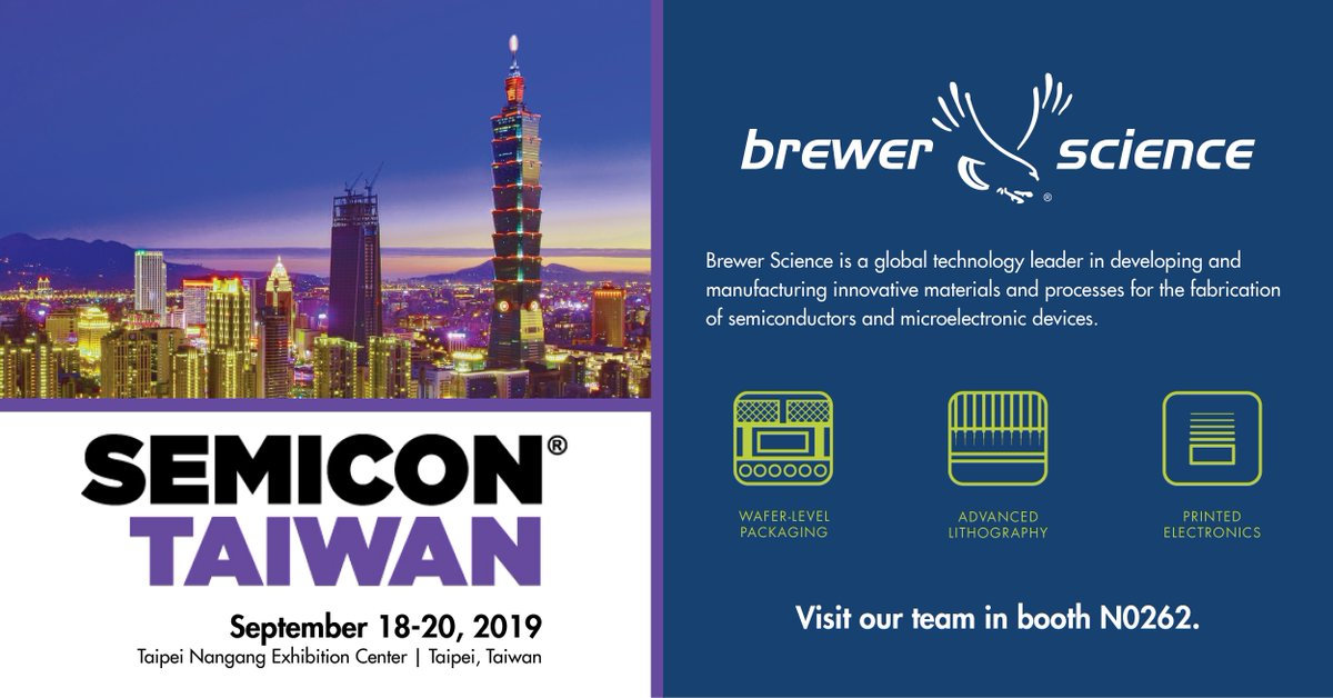 test Twitter Media - Brewer Science is once again excited to attend and exhibit at #SEMICONTaiwan from September 18-20 in Taipei, Taiwan. Stop by booth N0262 on the 4th floor to meet with our team. #semi #taiwan #waferlevelpackaging https://t.co/JQ2HmhjZeS