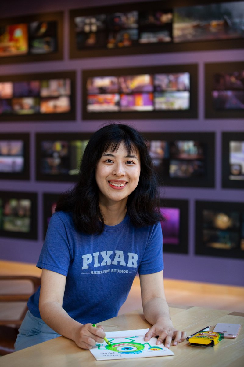 """Thank you to our #PixarInterns! Let's recap the summer with them. First up:Yaou Chen (Art Intern)What was your first day #InsidePixar like?""""Everything felt like a dream – being welcomed by so many art heroes as an intern is the best experience of my life!"""""""