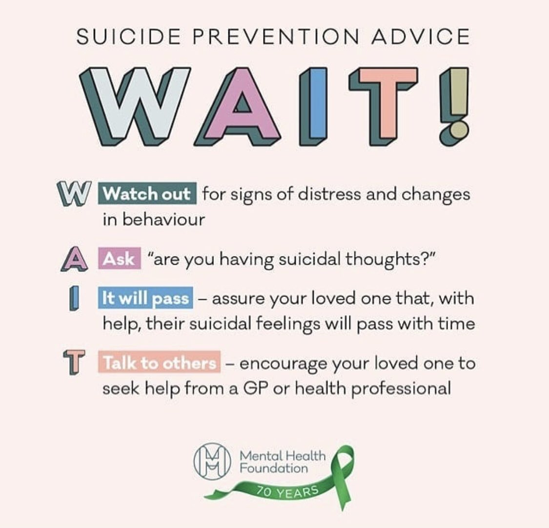 Today is #WorldSuicidePreventionDay . Remember to W.A.I.T.