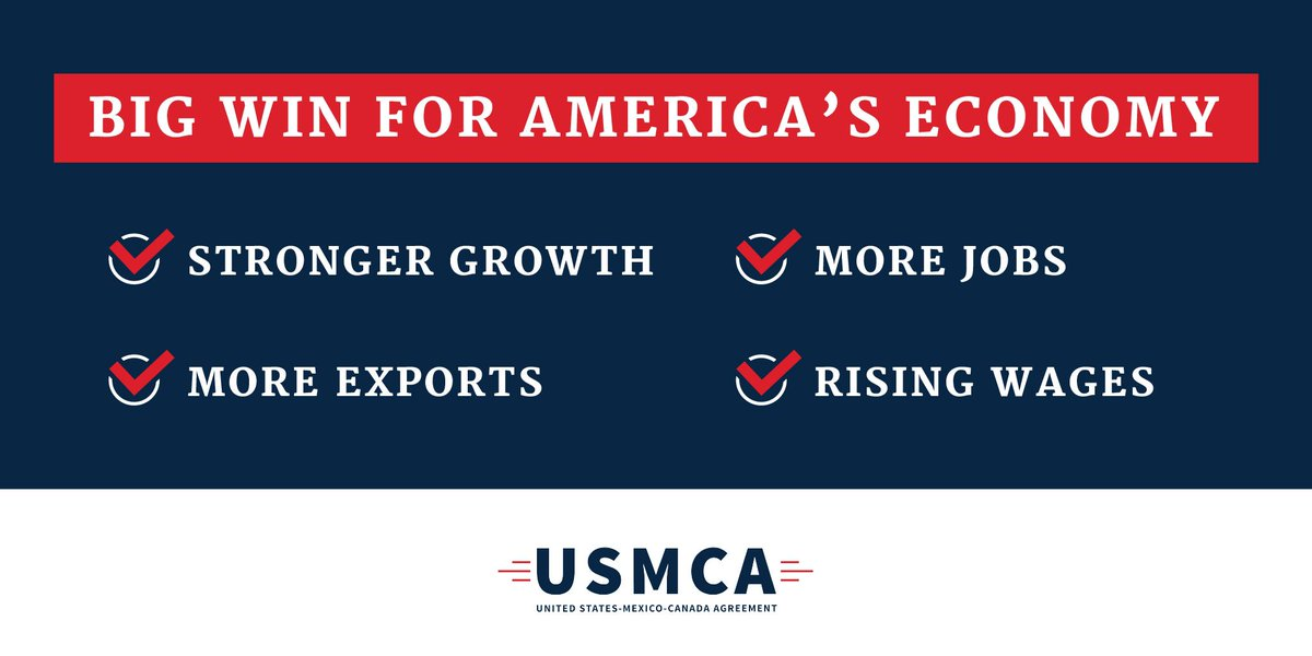 The #USMCA means: ✅ Stronger Economic Growth ✅ More Jobs ✅ More Exports ✅ Rising Wages   Let's pass a trade deal for ALL Americans! #USMCAnow