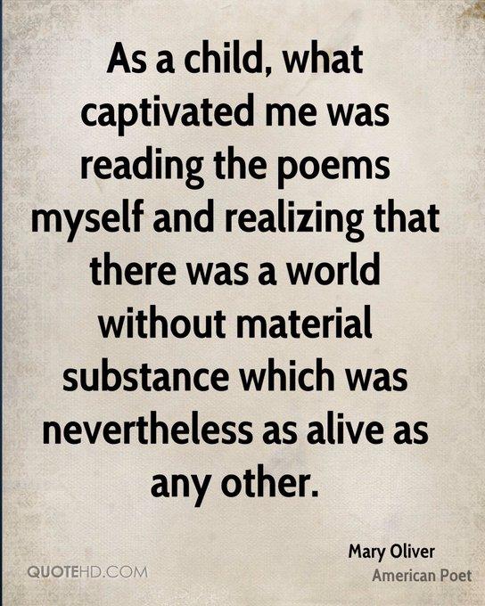 Happy birthday to Mary Oliver, born in 1935.