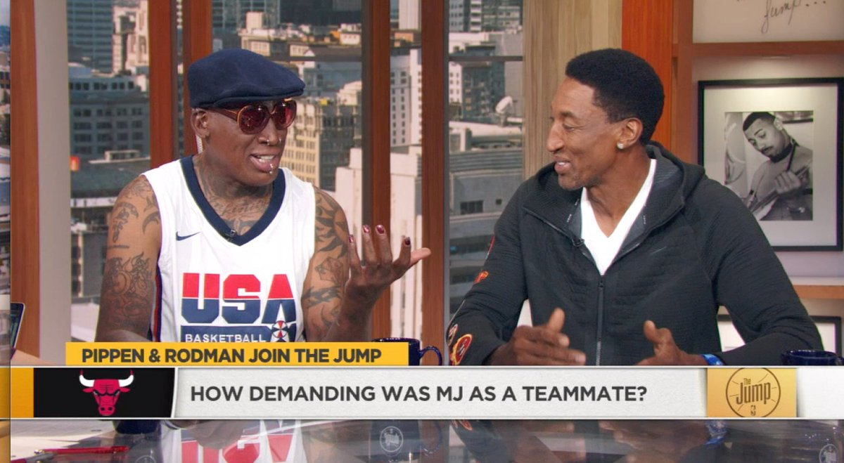 """We had @ScottiePippen & @DennisRodman on #TheJump and it was amazing.Dennis: """"I don't think they realized what I was doing off the court""""Scottie: """"We realized it; Dennis was living 2 different lives""""Me: """"Madonna was on TV talking about having sex with you. So they realized it"""""""