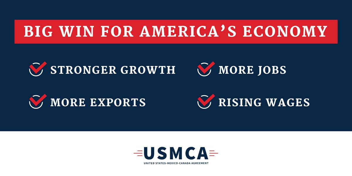 The #USMCA is essential to the future of Texas, America, and our North American allies. Congress must pass this agreement and usher in a new era of economic prosperity.