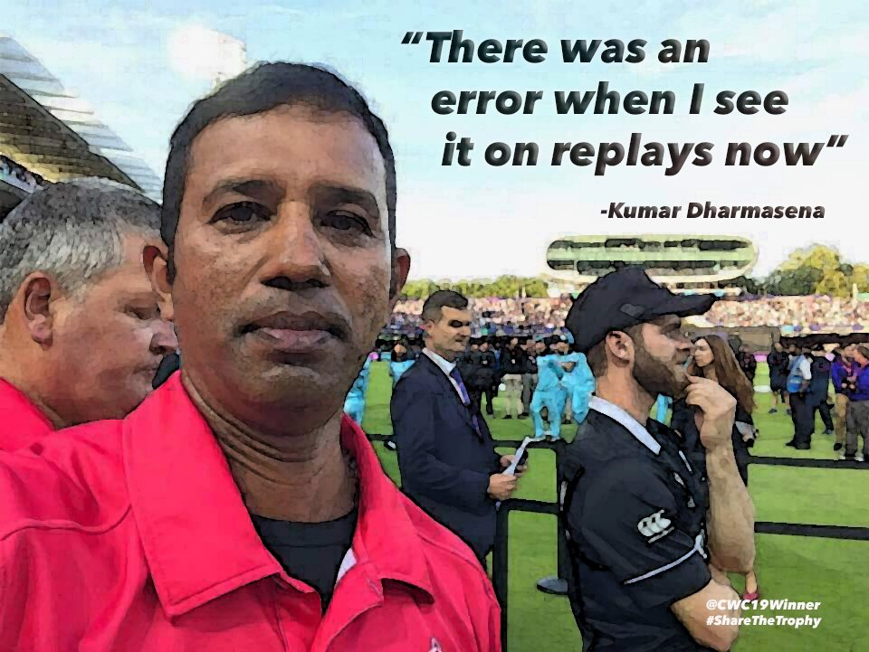 Wish @ICC gave 'luxury of replays' to @dharmasena_k, we could have had a clear #CWC19Winner, but the combination of Officials and Rules 👏👏 Ensured that the trophy was robbed and gifted 🤝#NZRobbed #YesWeKane #ShareTheTrophy #BackTheBlackCaps