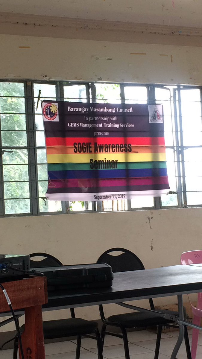Will be hosting a SOGIE awareness seminar this morning #SKduties pic.twitter.com/wg8RbJwUQu – at Masambong barangay hall