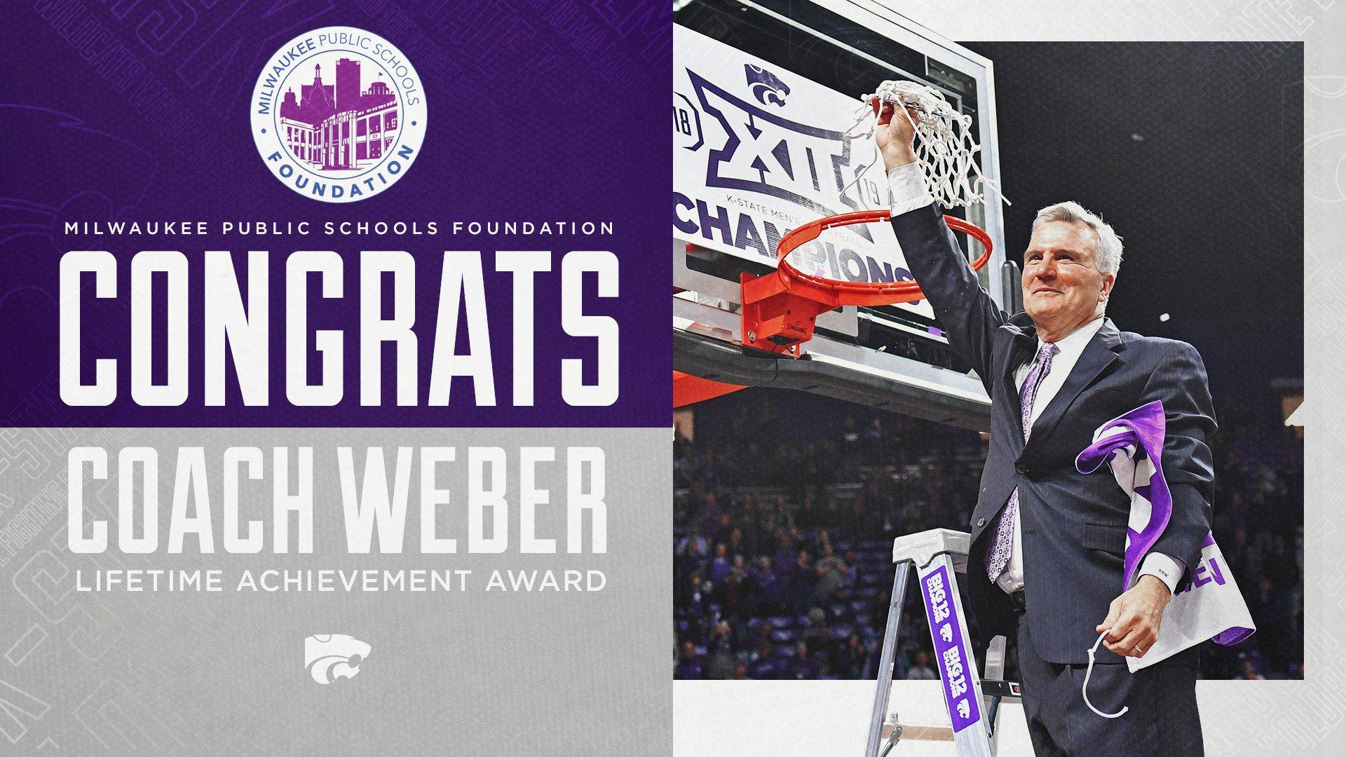 Kansas State Wildcats NCAA Basketball: Congrats to .@coachbruceweber on his 2019 Lifetime Achievement Award from the Milwaukee...