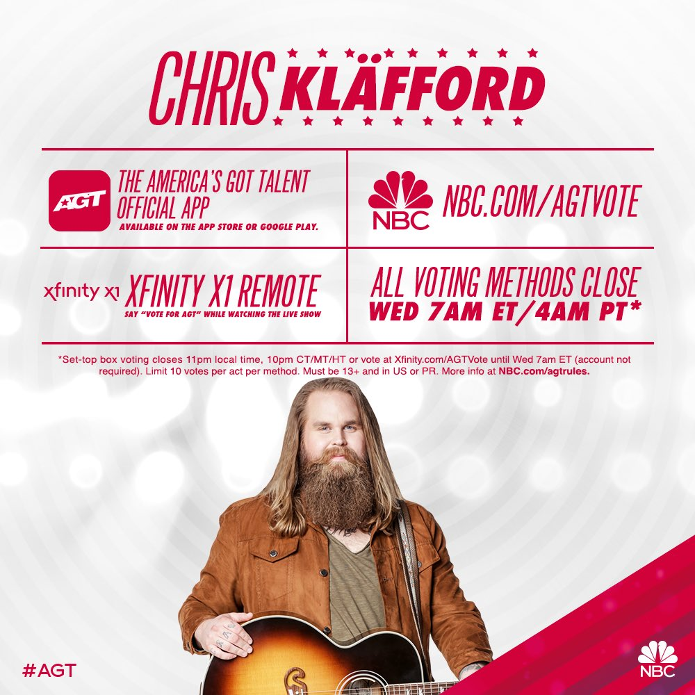 I listened to my heart and followed my gut! If you liked my performance tonight and want to give me a chance at the AGT final, please vote! 🙏 #agt #chriskläfford @AGT