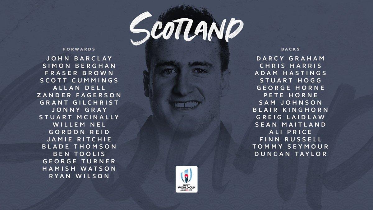@lospumas @RugbyCanada @EnglandRugby @fijirugby @FranceRugby @GeorgianRugby @IrishRugby @Federugby @JRFURugby @RugbyNamibia @AllBlacks @RugbyRussia Heres @Scotlandteams squad to compete in Pool A #RWC2019