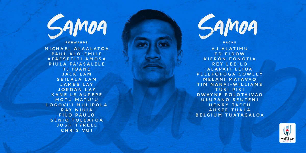 @lospumas @RugbyCanada @EnglandRugby @fijirugby @FranceRugby @GeorgianRugby @IrishRugby @Federugby @JRFURugby @RugbyNamibia @AllBlacks @RugbyRussia Samoa will bring the power in Pool A at #RWC2019