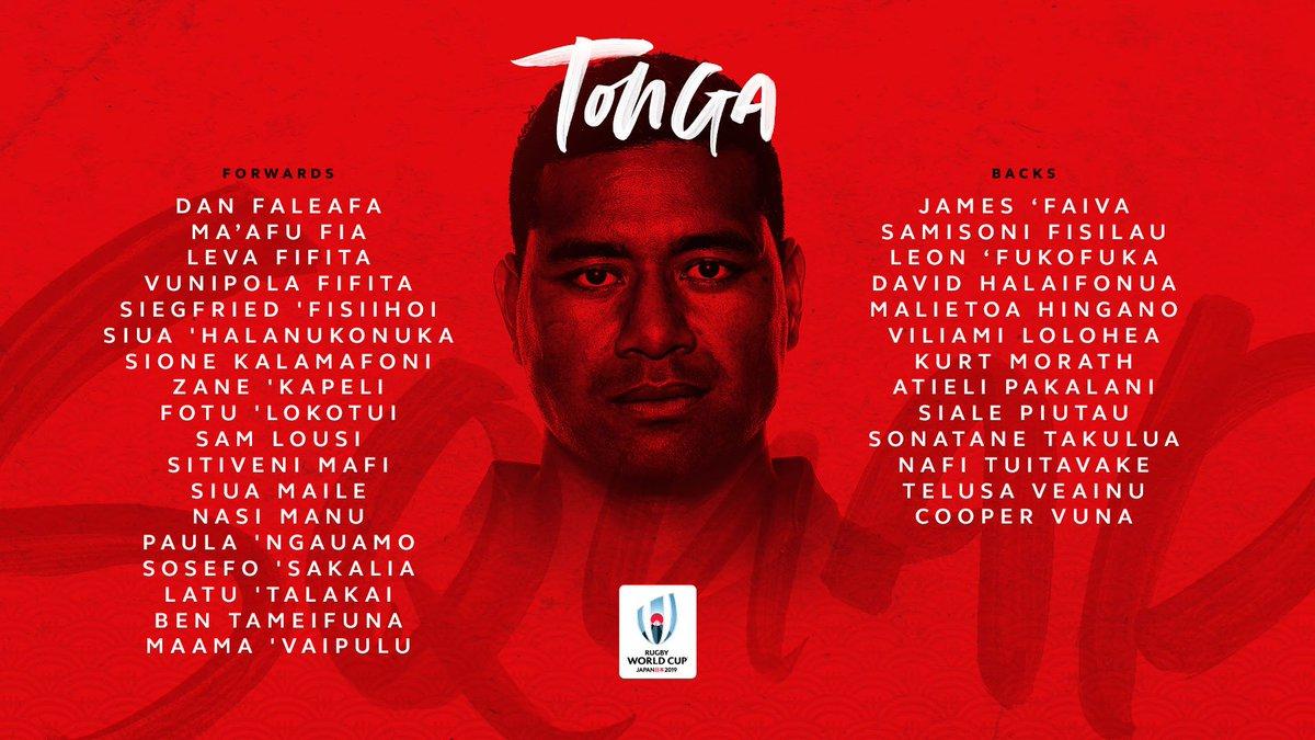 @lospumas @RugbyCanada @EnglandRugby @fijirugby @FranceRugby @GeorgianRugby @IrishRugby @Federugby @JRFURugby @RugbyNamibia @AllBlacks @RugbyRussia @Scotlandteam @Springboks In Pool C its Tonga and their strong squad for #RWC2019