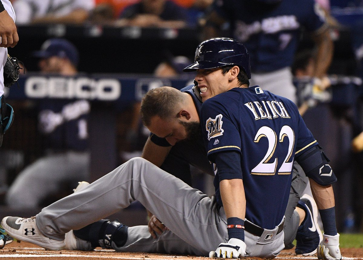 Christian Yelich will miss the rest of the season with a fractured kneecap. Yelich's season OPS will finish at 1.100, the highest in a qualified season in Brewers history.He also becomes the 2nd reigning MVP ever to record a 40-30 season.