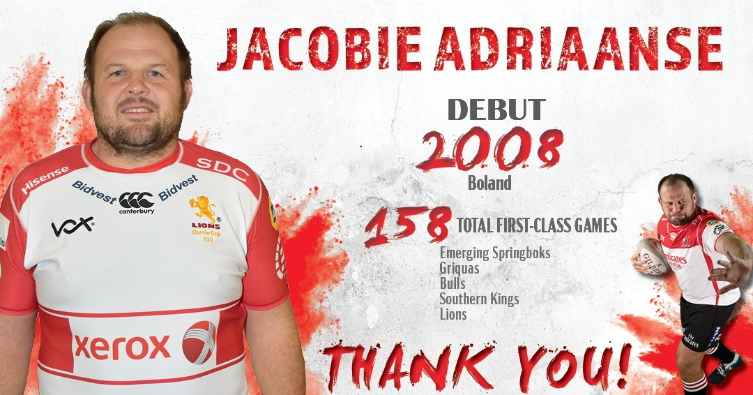 To play 158 games in such a challenging position deserves respect. Its a reflection of Jacobie Adriaanse as a person. Hes played all of those games & nurtured a whole lot of young players coming through. Our very best wished accompany him on his next endeavor. #LionsPride