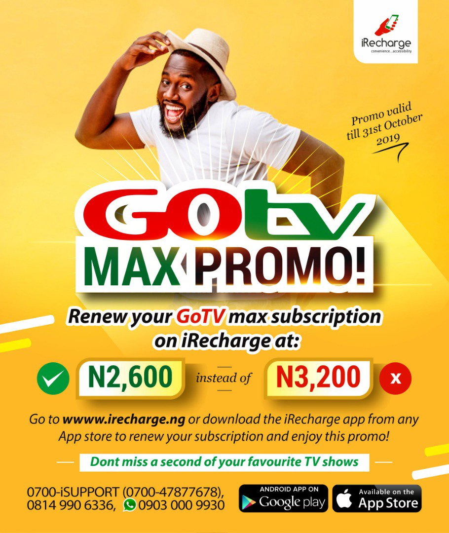 Save N600 on your Gotv Max Subscription today, subscribe for