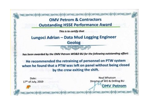 Adrian Lungoci, GEOLOG Data Engineer, was recognized by OMV