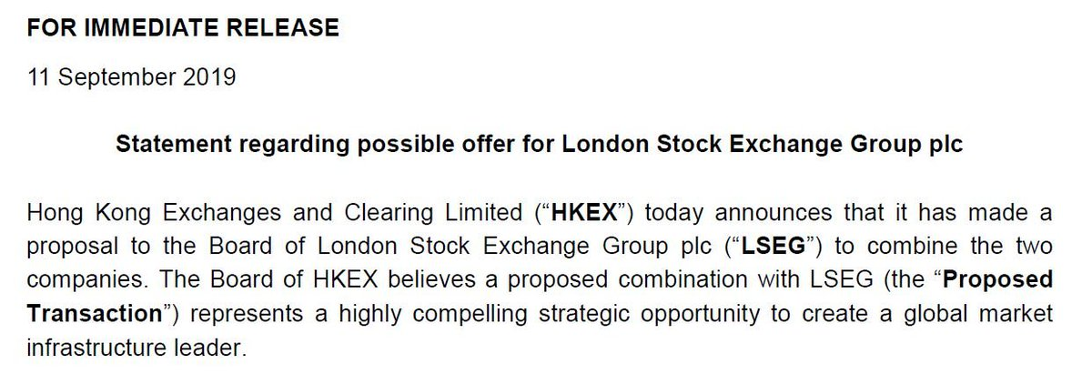 Hong Kong Exchange proposes £30 billion takeover for London Stock Exchange. Hold on to your hats....
