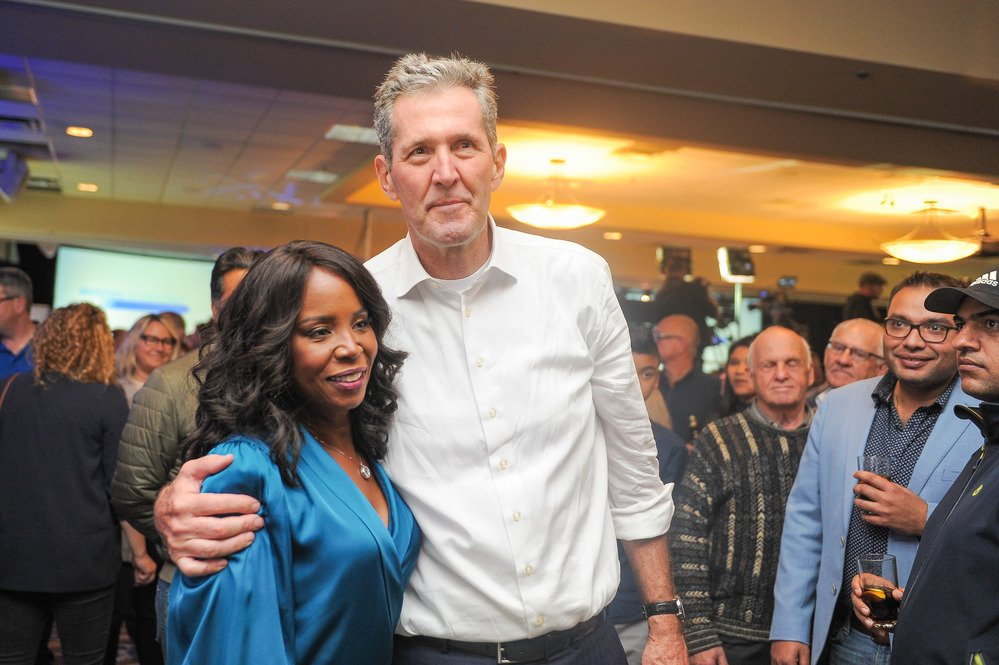 Pallister congratulates Audrey Gordon (Southdale) on her big win Tuesday #cbcmb #mbpoli (📷 by James Turner/CBC)