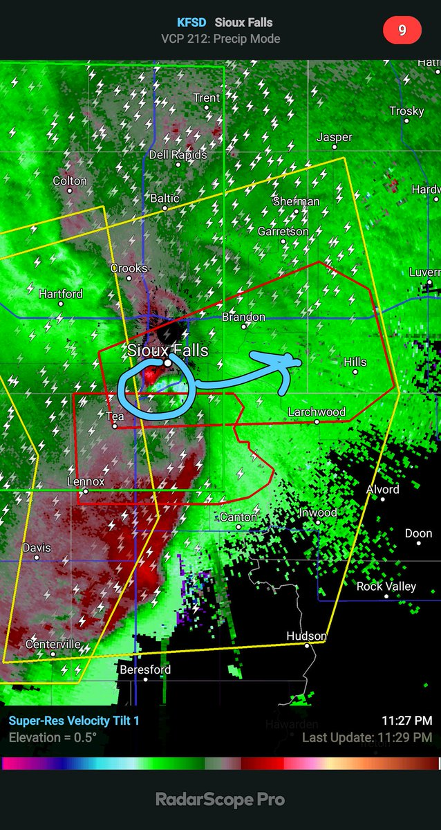 THERE IS NOW A POSSIBLE TORNADO OVER SIOUX FALLS... if you are in Sioux Falls, especially the highlighted area, seek shelter now!. it is dark and any tornado would be rain-wrapped so it would be impossible to see. #sdwx