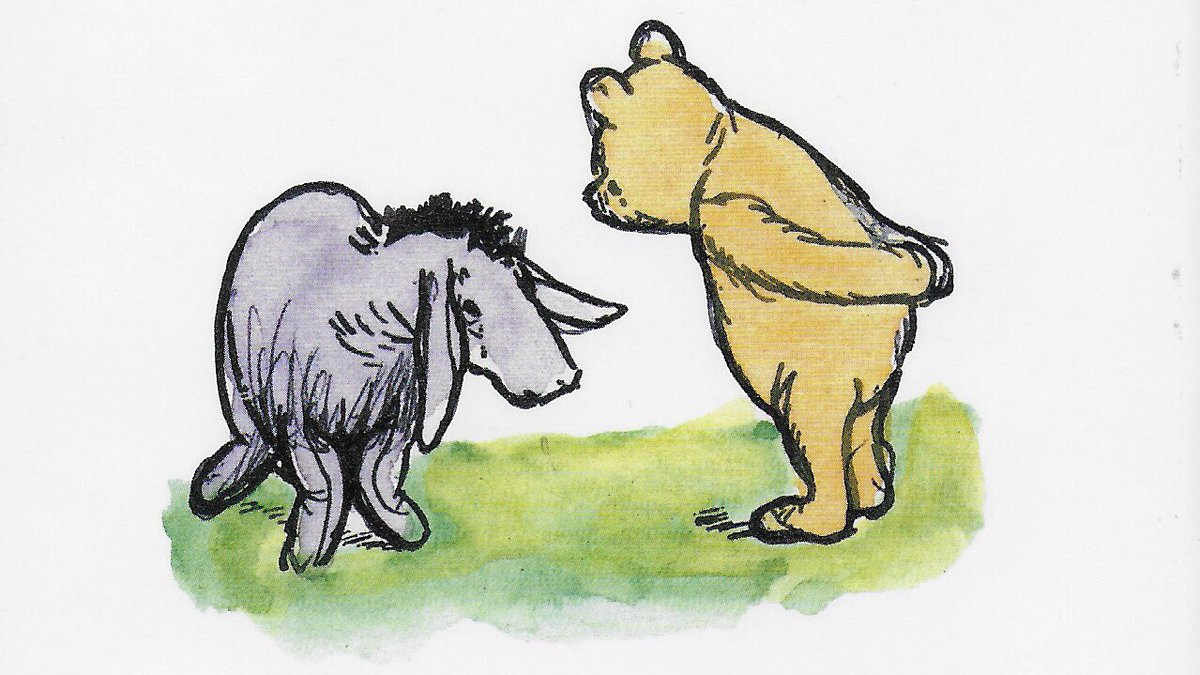 """""""Most of us have small, sad places in our hearts. My father felt deeply but kept his feelings to himself. Or rather, being a writer, he let them escape in his writing. And so such sadnesses as there were put on cap and bells and emerged as Eeyore."""" ~C.R.Milne #WednesdayWisdom <br>http://pic.twitter.com/6WdylYw8e1"""