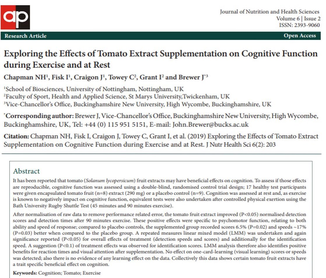 Pleased to share the findings of our most recent collaboration led by @PlantSciNottm @UoNBiosciences specific tomato extract resulted in a positive effect on psychomotor traits, reaction times and visual attention. @StMarysSHAS @sportprofbrewer bit.ly/2m96Zvl