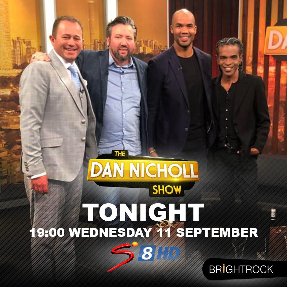Check us out tonight @dannichollshow 👇🏽👇🏽👇🏽 Great to catch up and have a couple of laughs with this crew 😁🇿🇦