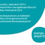 Image for the Tweet beginning: Vielä mahtuu mukaan! Ilmoittaudu Energiaeksperttikoulutukseen.