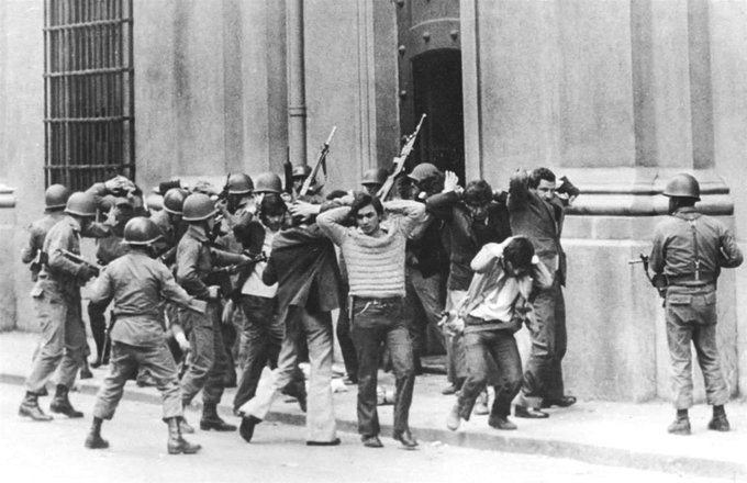 "9/11/1973: The Chilean coup d'etat. The United States worked via the CIA to assist overthrowing of Chile's socialist government of President Salvador Allende by General Pinochet, leading to repression and thousands of deaths. Most executed, died under torture or ""disappeared. <br>http://pic.twitter.com/sSLf7lzJRT"