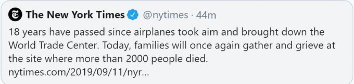"The @nytimes shows again they do propaganda Not newsTheir tweet (deleted after ridicule) said ""airplanes took aim"" on 9/11NoJihadists took aimAnd killed thousandsShame"