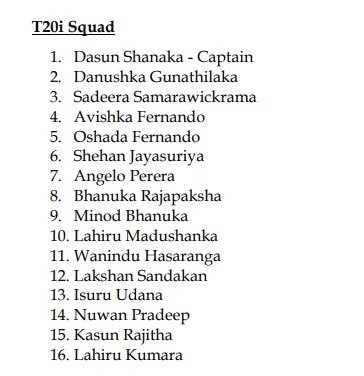 As per @daniel86cricket following is the SL squad for the Pak tour: