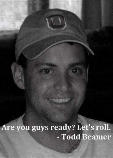 """""""Let's Roll""""! 9/11/2001Last words heard by Todd Beamer as he & 43 other passengers decided to stand up & take back United flight 93 from the terrorists. They all lost their lives while preventing the jet from striking the US Capitol, potentially killing hundreds more. 🇺🇸🇺🇸🙏🙏"""