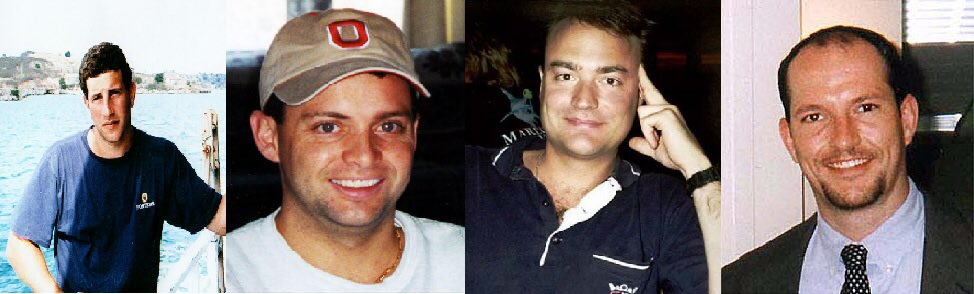 """Today 18 years ago (L to R):  Jeremy Glick, Todd Beamer, Tom Burnett, and Mark Bingham overtook hijackers on United 93.  Burnett's last words to his wife """"don't worry we are going to do something""""  Beamer's final words """"are you ready let's roll""""  Remember them. #NeverForget<br>http://pic.twitter.com/PnwuWghUG4"""