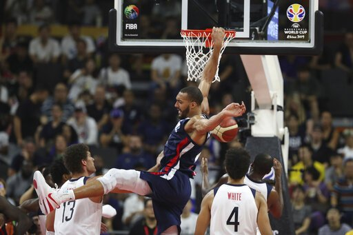 France beats USA, 89-79, in the FIBA World Cup Quarterfinals. Rudy Gobert led France with 21 Pts and 16 Reb, while his Utah Jazz teammate Donovan Mitchell scored 29 in defeat.The loss snaps USA's 58-game win streak in international tournaments with NBA players.